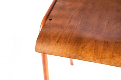 orange luxor with wooden seat