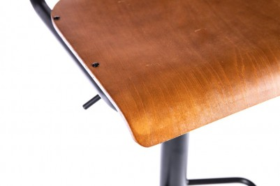 wooden and metal swivel bar stool