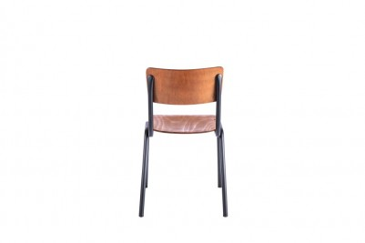 back of black luxor stacking chair