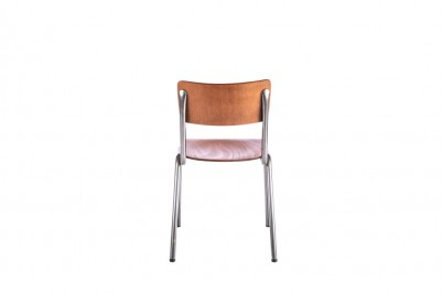 back of gunmetal luxor stacking chair