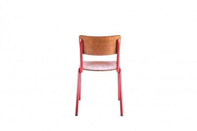 back of red luxor stacking chair