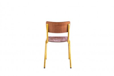 back of yellow luxor stacking chair