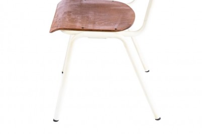 white frame wooden stacking chair