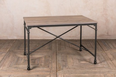 grey metal restaurant table