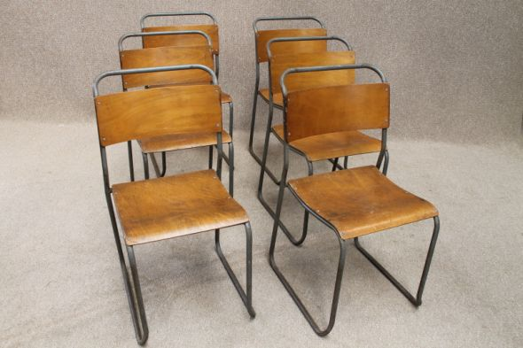 Metal Stacking Chairs Vintage Redro Industrial Pel Cox Style
