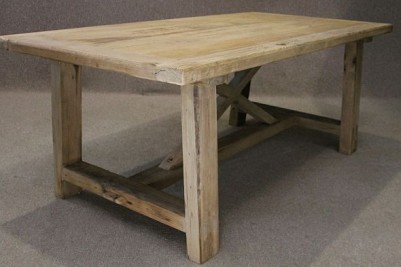 Reclaimed pine table with bleached top