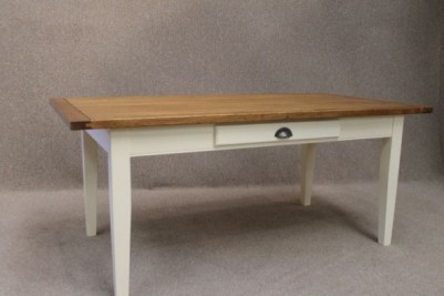 pine French farmhouse table with oak top