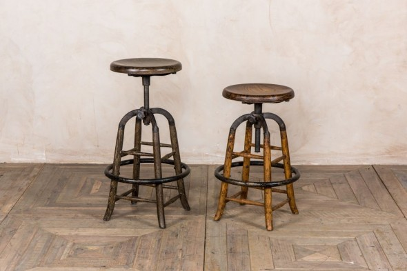 Old English Rustic Oak Bar Stools