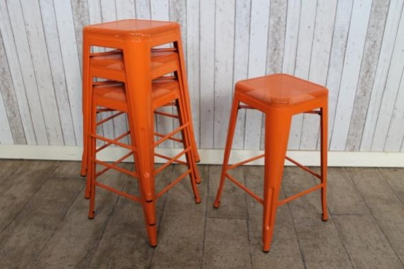 Stacking Stools Tolix Style in Orange Bright Stacking Bar Pub Stools