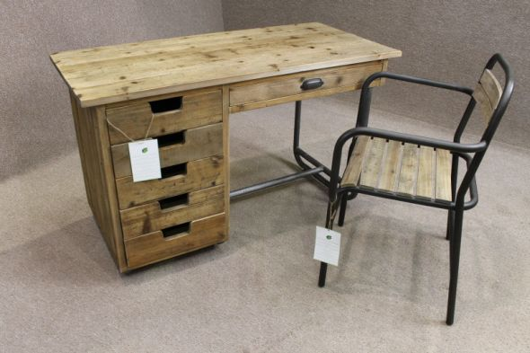 Disc - Industrial Metal Desk with drawers