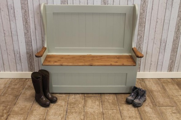 Handmade Painted Pine Settle with Arms