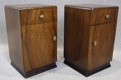 Pair of period walnut art deco bedside cabinets