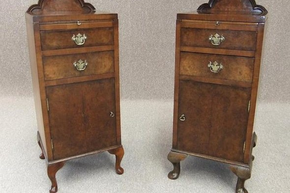 Pair of Burr Walnut Edwardian Bedside Cabinets