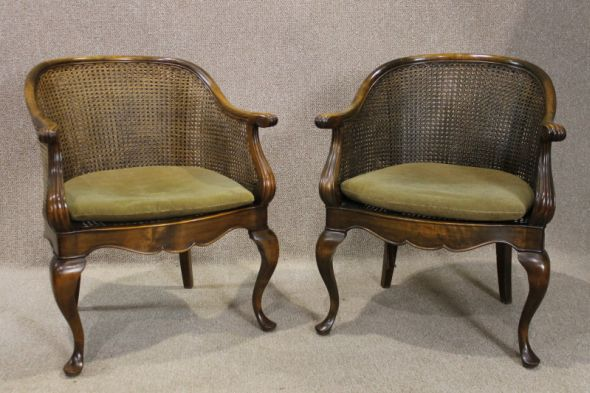 Pair of Edwardian Armchairs with Double Bergere