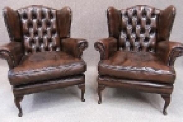 Pair of George Iii Style Winged Leather Armchairs