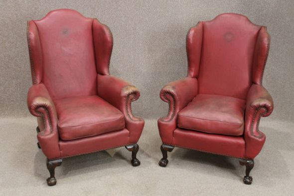 Pair of Late Victorian Mahogany Armchairs Upholstered