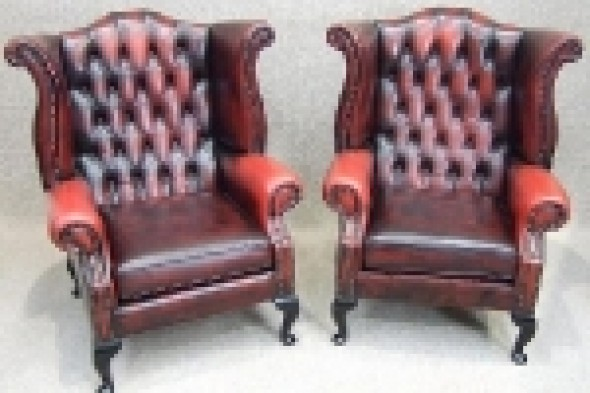 Pair of Red Leather Georgian Style Winged Armchairs