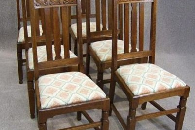 Six oak 'Pratt & Son' arts & crafts dining chairs