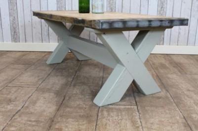 country farmhouse coffee table with a painted base