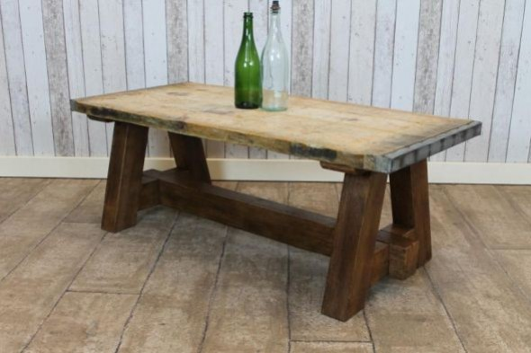 1.25m Reclaimed Coffee Table with Handmade Base