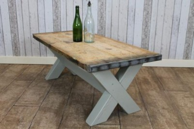rustic coffee table with a painted base