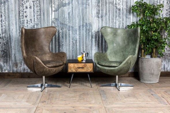 Leather Retro Swivel Egg Chair