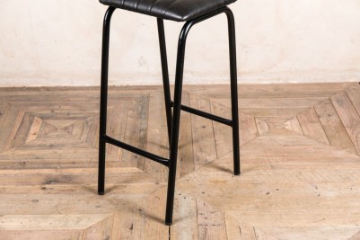 black faux leather bar stool frame