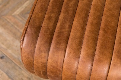 long vintage ribbed leather bench