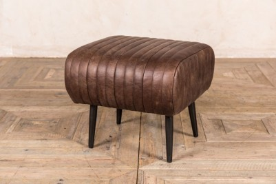 small brown leather dining bench