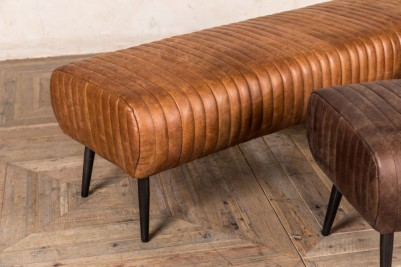vintage ribbed tan leather bench