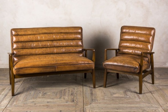 Retro Style Leather Sofa & Armchair