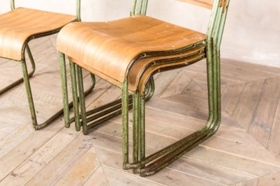 vintage green stacking chairs