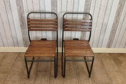 slatted vintage stacking chairs