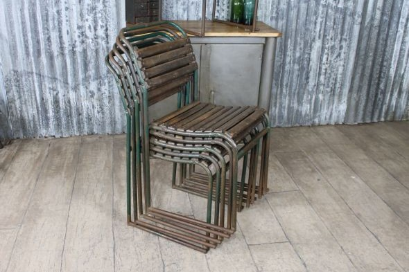 Green Slatted Stacking Chair