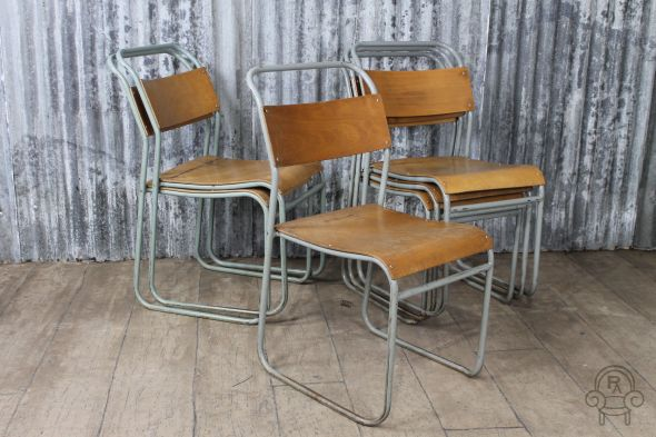 Grey Framed Vintage Stacking Chairs