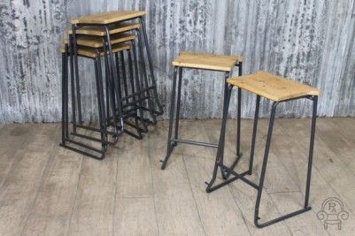 wooden top lab stool