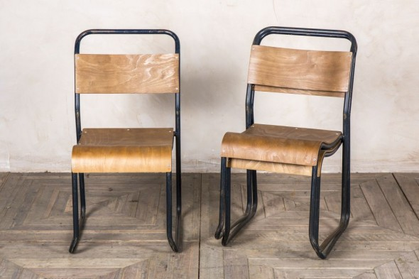 Set of Three Bent Plywood Stacking Chairs