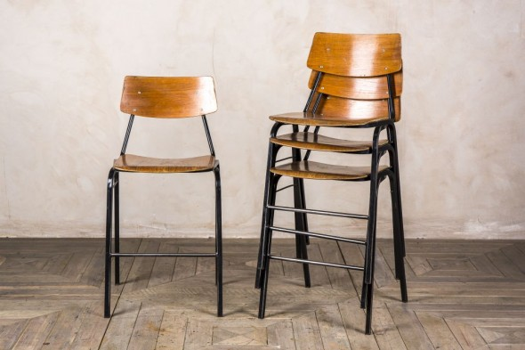 Set of Four Stackable Lab Stools