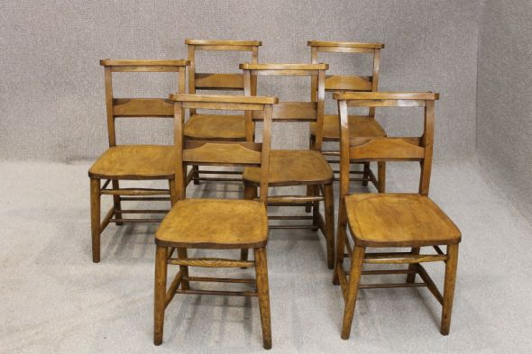 Set of 10 Edwardian Chapel Chairs in Elm and Beech