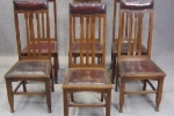 Set of 6 Oak Victorian Arts & Crafts Chairs