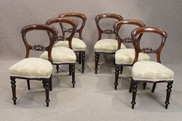 Victorian Balloon Back Chairs in Mahogany Set of Six