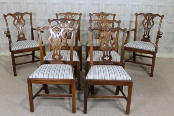 8 CHIPPENDALE STYLE MAHOGANY DINING CHAIRS