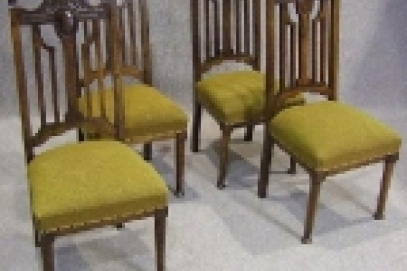 Set of Four Late Victorian Walnut Dining Chairs