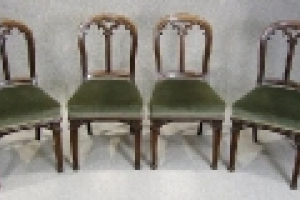 Set of Four Victorian Mahogany Gothic Dining Chairs