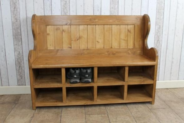 Handmade Pine Bench with Shoe Rack