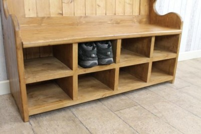 monks bench pew with shoe rack