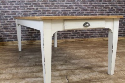 painted table with distressed paintwork