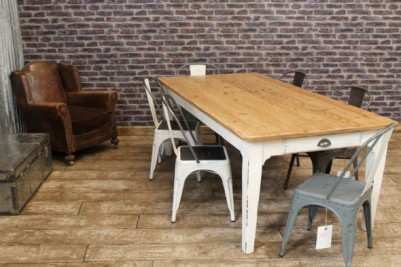 reclaimed pine table with shabby chic paintwork