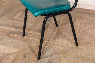 teal leather dining chair