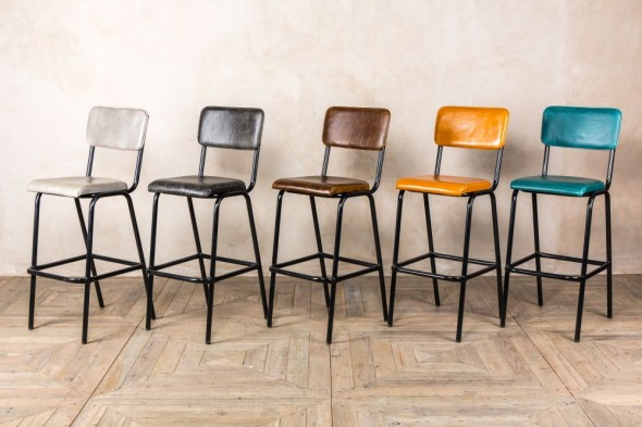 Shoreditch Tall Leather Bar Stools